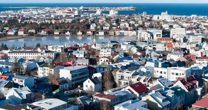 Birdseye view of Reykjavik, Iceland seen from observation deck of Hallgrimskirkja church